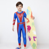 Kid Boys Underwater Diving Print Spider Man Swimwear Sets Long Sleeves Top and Pant With Swim Cap
