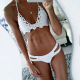 Women Swimsuit Hand Crocheted Shells Cut Out Backless Bikinis Sets Swimwear