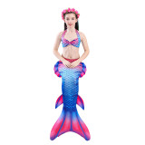 3PCS Kid Girls Strap Matching Color Scales Mermaid Tail Bikini Sets Swimwear