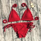 Women Bikinis Sets Wavy Edge Tie Up Swimsuit