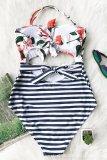 Women Swimsuit Print Flowers Cut Out Stripes One Piece Swimwear