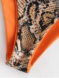 Women Swimsuit Prints Snakeskin One Shoulder Lace Up Bikinis Sets