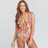 Women Swimsuit Deep V-Neck Print Flowers Ruffles One Piece Swimwear