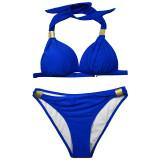 Women Swimsuit Strap Metal Ring Bikinis Sets