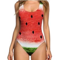 Women Swimsuit Nude Fruits One Piece Swimwear