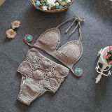 Women Swimsuit Hand Crocheted High Waist Bikinis Sets Swimwear