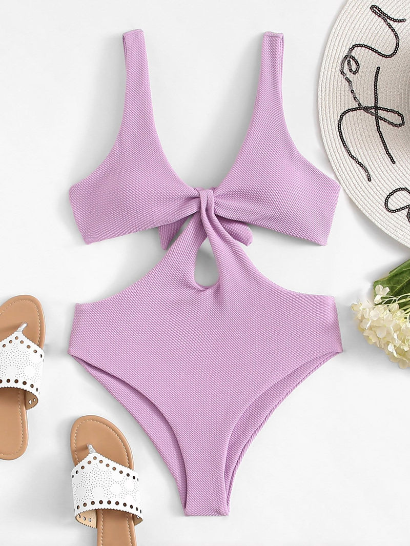 Women Swimsuit Purple Cut Out Tie Up One Piece Swimwear