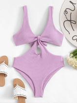 Women Swimsuit Purple Cut Out Tie Up One Piece Swimwear