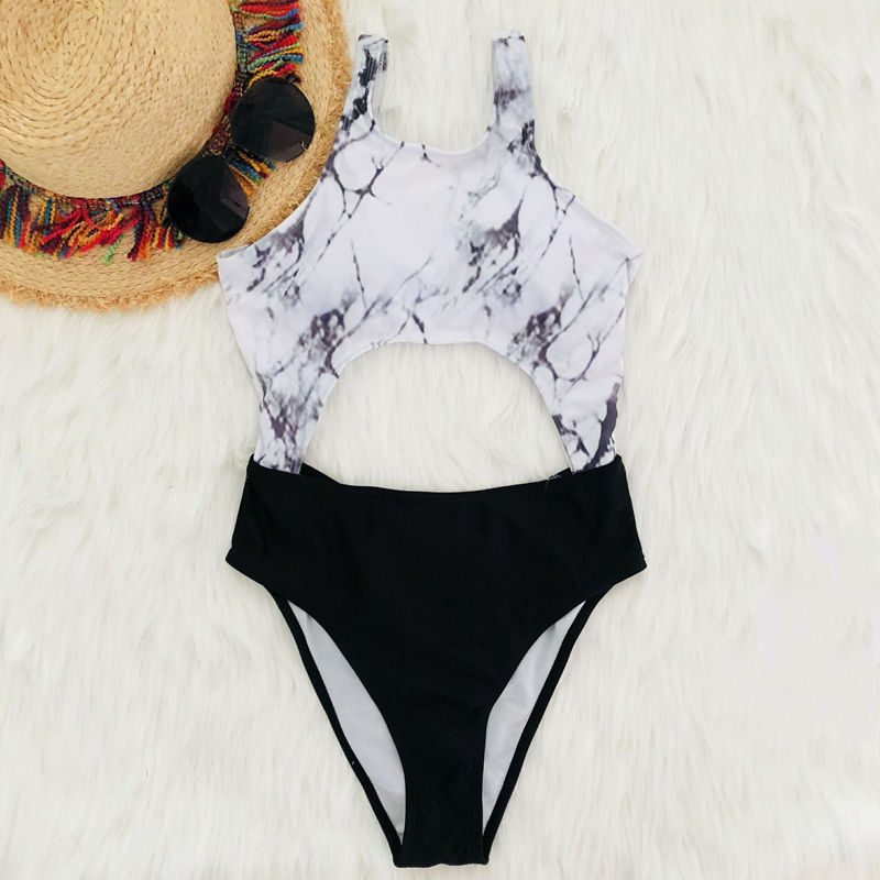Women Swimsuit Cut Out Backless One Piece Swimwear