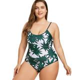 Women Swimsuit Prints Green Leaves Lace Up Backless Swimwewar