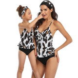 Mommy and Me Print Leopard Tropical Leaves Bowknot Swimsuit Matching Swimwear