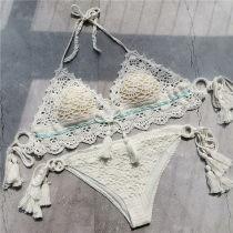 Women Swimsuit Tassels Crocheted Tie Up Bikinis Sets Swimwear