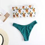 Women Swimsuit Sun Flowers Tube Up Bikinis Sets Swimwear