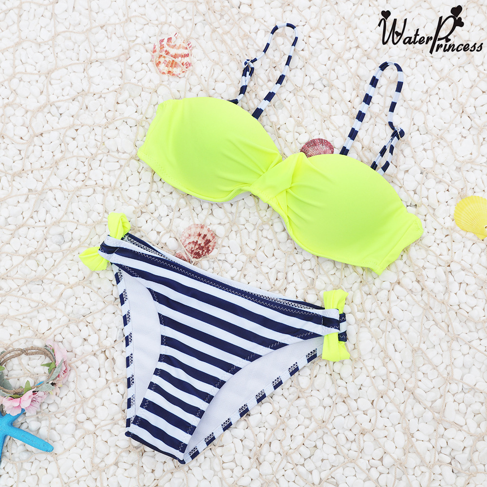 Women Bikinis Sets Steel Tube Top Stripes Swimsuit