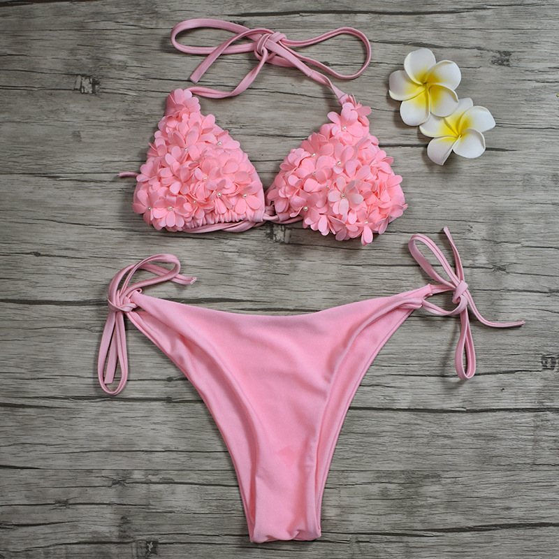 Women Swimsuit 3D Flowers Pearls Tie Up Bikinis Sets