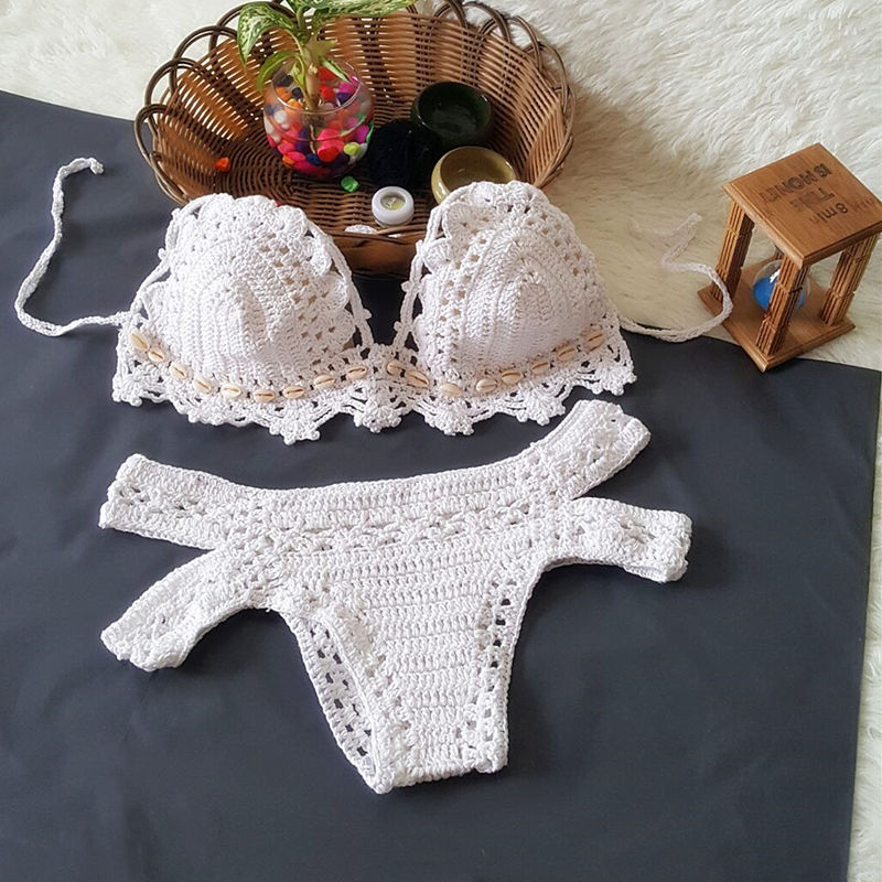 Women Swimsuit Hand Crocheted Shells Cut Out Backless Bikinis Sets Swimwear