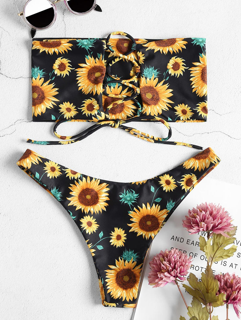 Women Swimsuit Prints Sun Flowers Tube Top Lace Up Bikinis Sets