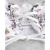 Women Swimsuit Prints Flowers Tube Up Lace Up Bikinis Sets Swimwear