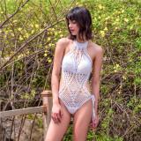 Women Swimsuit Hand Crocheted Backless One Piece Swimwear