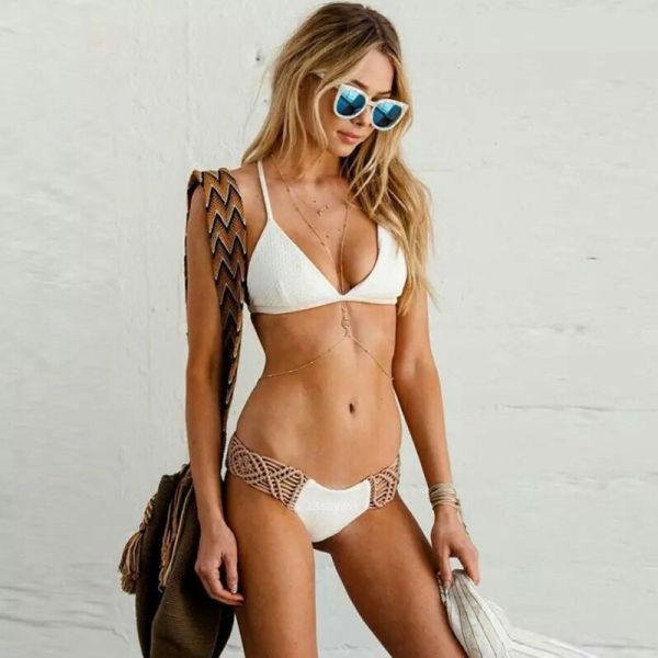 Women Swimsuit White Crocheted Bikinis Sets Swimwear