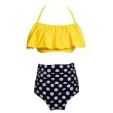Women Swimsuit Ruffles Prints Dots High Waist Bikinis Sets Swimwear