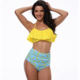Women Swimsuit Ruffles Prints High Waist Bikinis Sets Swimwear