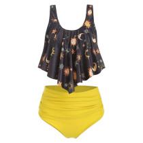 Women Swimsuit Prints Sun Stars High Waist Bikinis Sets Swimwear