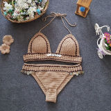 Women Swimsuit Hand Crocheted Sequins Bikinis Sets Swimwear