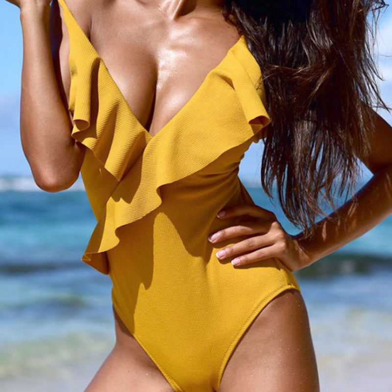 Women Swimsuit Ruffles V-neck One Piece Swimwear