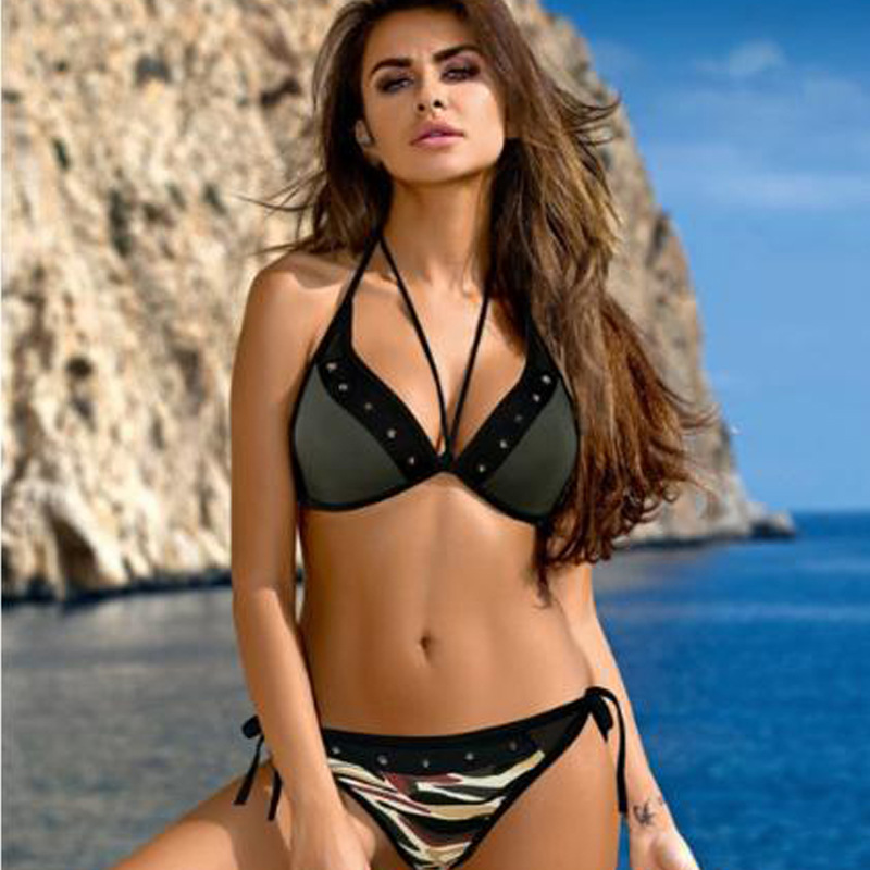 Women Swimsuit Army Rivet Tie Up Bikinis Sets