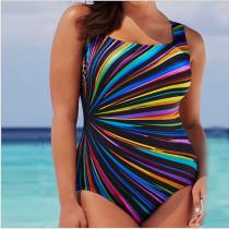 Women Swimsuit Rainbow Stripes Swimwewar