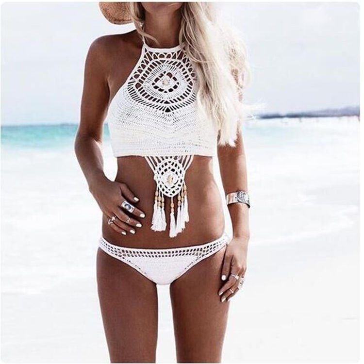Women Swimsuit Hand Crocheted Tassels Beads Boho Bikinis Sets Swimwear