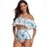 Women Swimsuit Ruffles Pompoms High Waist Bikinis Sets Swimwear