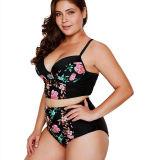 Women Swimsuit Black Flowers High Waist Bikini Sets