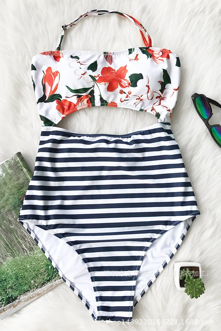 Women Swimsuit Print Flowers Cut Out Stripes One Piece Swimwear