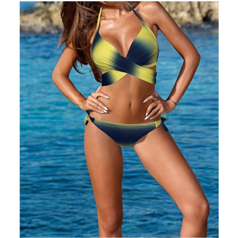 Women Swimsuit Ombre Cross Over Bikinis Sets Swimwear