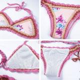 Women Swimsuit Crocheted Pink Flowers Bikinis Sets Swimwear