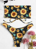 Women Swimsuit Prints Sun Flowers Tube Top Lace Up Bikinis Sets