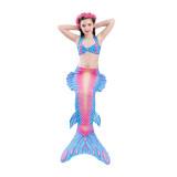 3PCS Kid Girls Strap Ombre Scales Mermaid Tail Bikini Sets Swimwear