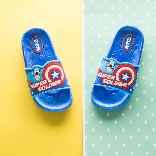 Toddlers Kids Cartoon Marvel Captain America Flat Beach Slippers