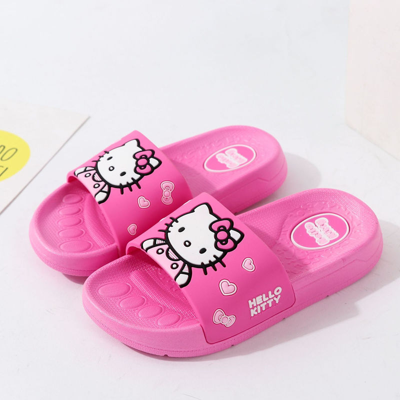 Toddlers Kids Pink Hello Kitty Flat Beach Home Summer Slippers