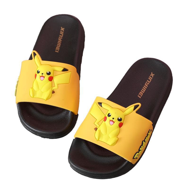 Toddlers Kids 3D Yellow Pikachu Flat Beach Home Summer Slippers