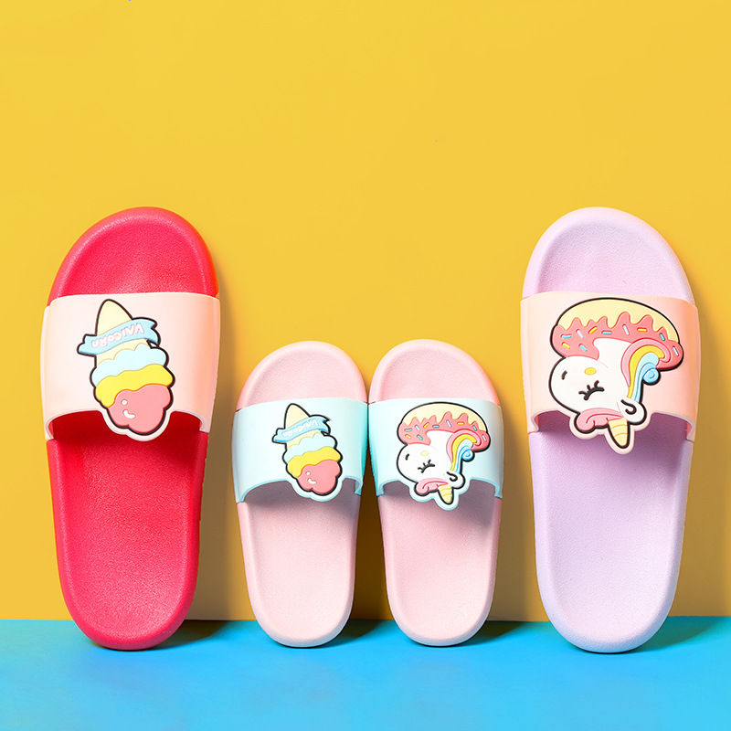 Parent Child Ice Cream Unicorn Home Summer Slippers