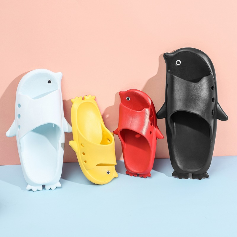 Parent Child 3D Cartoon Penguin Home Summer Slippers