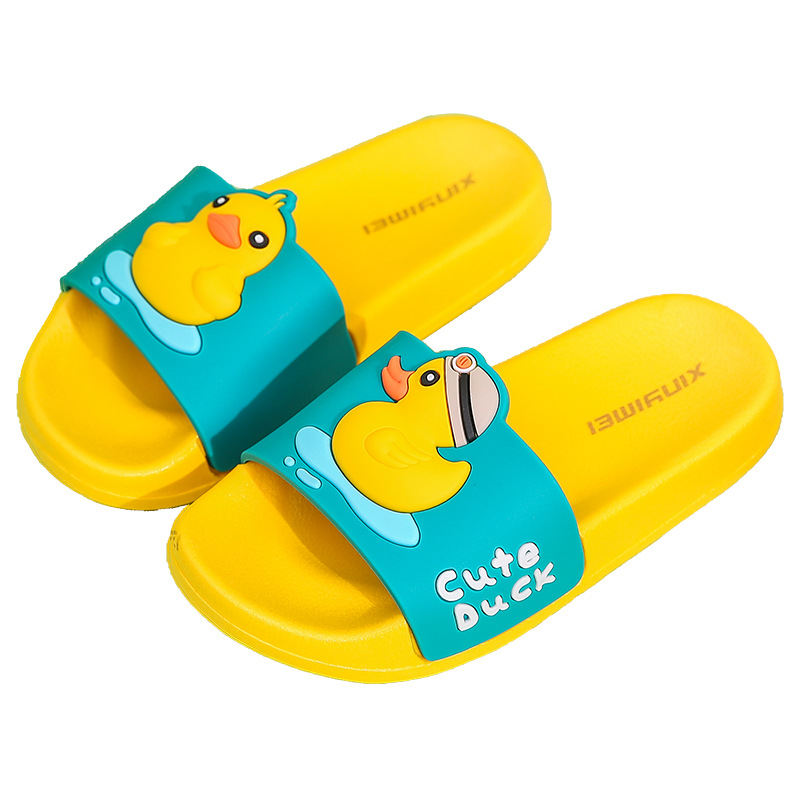 Toddlers Kids Yellow Duck Flat Beach Home Summer Slippers