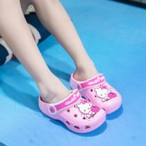 Toddlers Kids Pink Hello Kitty Strawberry Flat Beach Home Summer Slippers Shoes