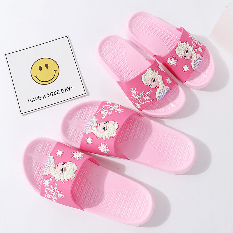 Toddlers Kids Pink Frozen Princess Flat Beach Home Summer Slippers