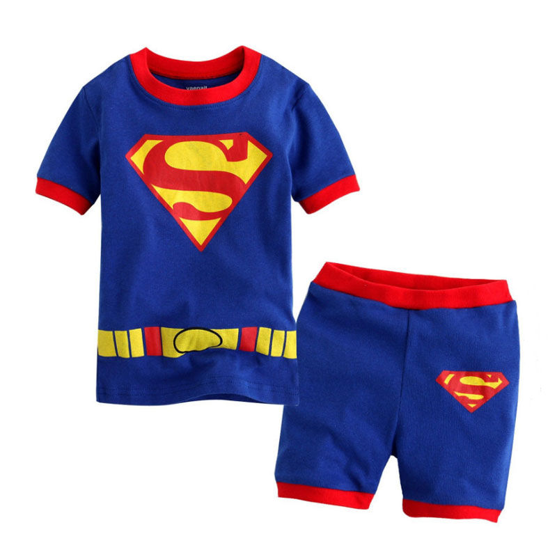 Toddler Kids Boy Super Man Summer Short Pajamas Sleepwear Set Cotton Pjs