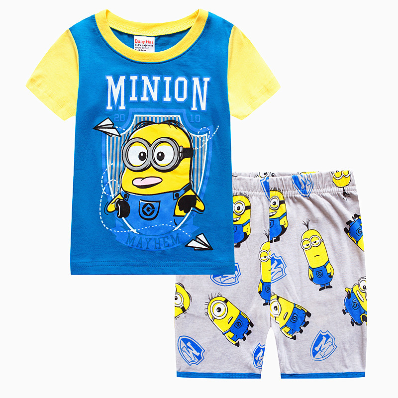 Toddler Kids Boy Minions Summer Short Pajamas Sleepwear Set Cotton Pjs