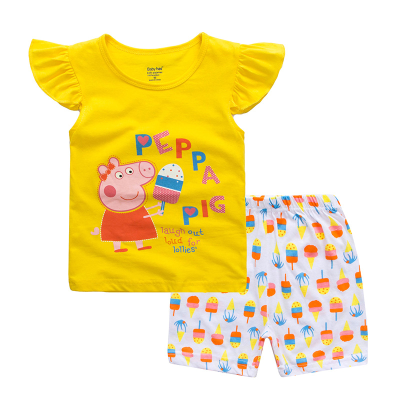 Toddler Kids Girl Peppa Pig Summer Short Pajamas Sleepwear Set Cotton Pjs